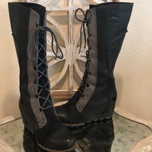 SOREL CATE THE GREAT BLACK GRAY SZ 8.5 GREAT COND